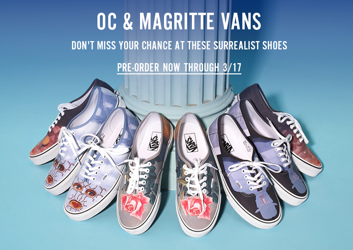 OC and Magritte Vans - Don't Miss Your Chance at These Surrealist Shoes - Pre-Order Now Through 3/17!